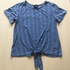 Blue Tie Front Tee with White Dots Size M